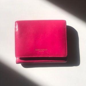 Saint Laurent hot pink wallet